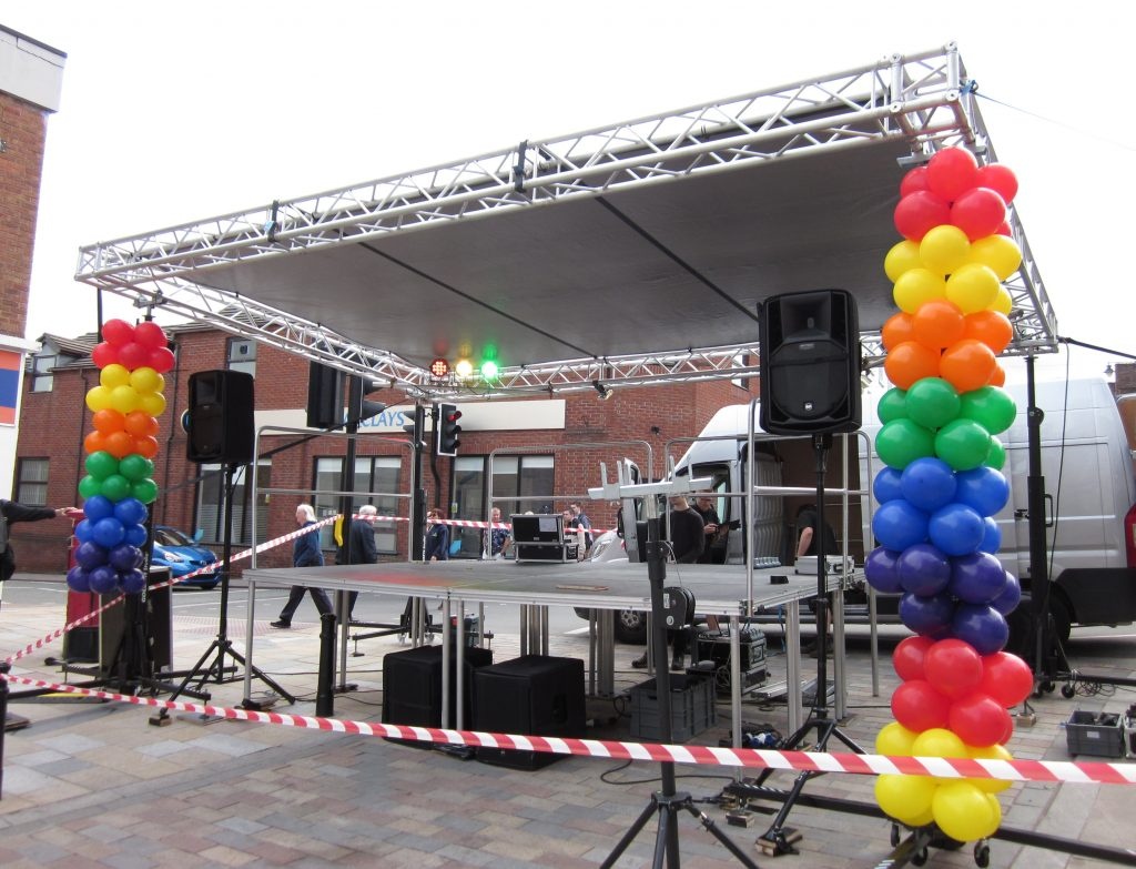 Congletin Pride stage being set up