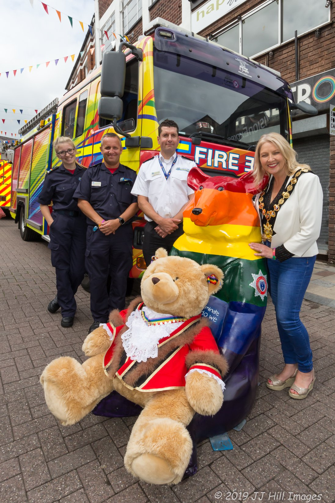 The Mayor Bear and the real Mayor - with pride ambulance