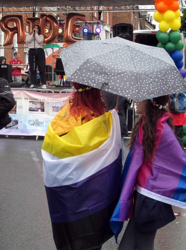 Nonbinary and bi flags - and Gracie
